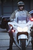 Patrol officer on motorcycle — Stock Photo