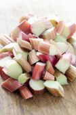 Chopped rhubarb — Stock Photo
