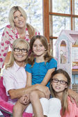 Multi generation family smiling — Stock Photo