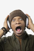 Surprised young African American man — Stock Photo