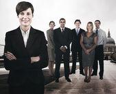 Businesspeople on the Millennium Bridge — Stock Photo