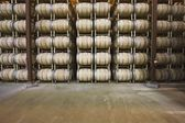 Wine barrels in storage — Stock Photo
