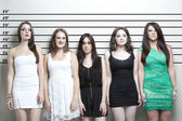 Young women in a police lineup — Stock Photo