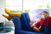 Little boy  reading a book — Stock Photo