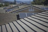Roof tops with  solar panelling — Stock Photo