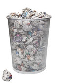 Wastepaper basket with papers — Stock Photo