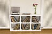 Shelf with vinyl records — Стоковое фото