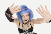 Female punk making a stop gesture — Stock Photo