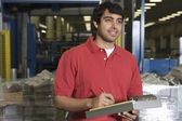 Man working in newspaper factory — Stock Photo