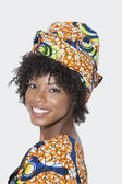 Woman in African print attire — Stock Photo