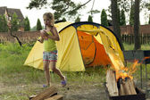 Girl with tent — Stock Photo