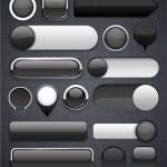 botones modernos negros alto detalladas — Vector de stock