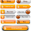 Add to cart high-detailed modern buttons. - Image vectorielle