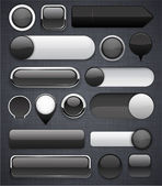 Black high-detailed modern buttons. — Vettoriale Stock