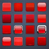 Röda torget hög-detaljerad moderna webbläsare knappar. — Stockvektor