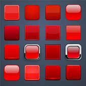 Red square high-detailed modern web buttons. — Stok Vektör