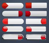 Bílá červená vysoce detailní moderní web tlačítek. — Stock vektor