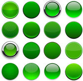 Green round high-detailed modern web buttons. — Stock Vector