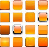 Boutons orange web moderne haute-détaillé. — Vecteur