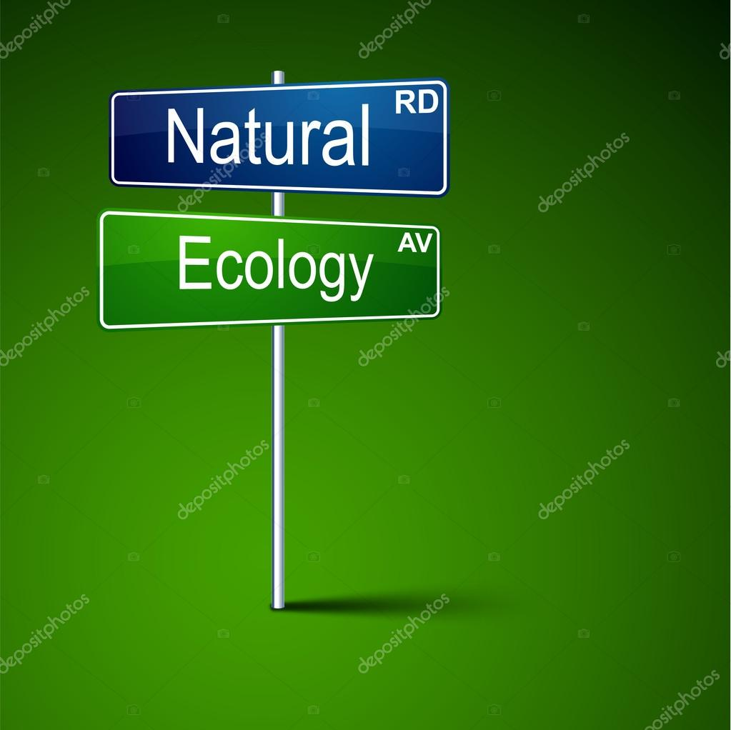 Vector direction road sign with natural ecology words.  Stock Vector #12680783