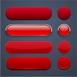 Red high-detailed modern web buttons. — Stock Vector
