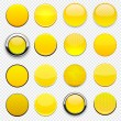 Stock Vector: Yellow high-detailed round modern web buttons.
