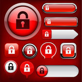 Lock high-detailed web button collection. — Stock Vector