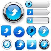 Yüksek detaylı web düğmesi koleksiyon karşıya yükleme. — Stok Vektör