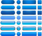 Blå hög-detaljerad moderna webbläsare knappar. — Stockvektor