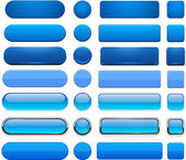 Blue high-detailed modern web buttons. — Vector de stock