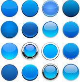 Blauw hoge-gedetailleerde ronde knoppen voor het web. — Stockvector