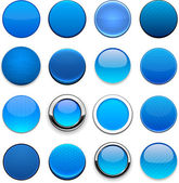 Blue high-detailed round web buttons. — Stock Vector