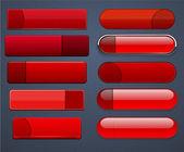 Kırmızı yüksek detaylı modern web düğmeleri. — Stok Vektör