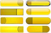 Yellow high-detailed modern web buttons. — Stock Vector