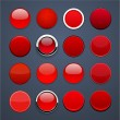 Red round high-detailed modern web buttons. - Grafika wektorowa