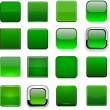 Green square high-detailed modern web buttons. - Grafika wektorowa