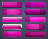 Botones web moderno alto detalladas magenta. — Vector de stock