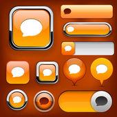 Konuşma balonu yüksek detaylı web düğmesi koleksiyonu. — Stok Vektör
