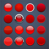 Red round high-detailed modern web buttons. — Stock Vector