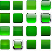 Green square high-detailed modern web buttons. — Stock Vector