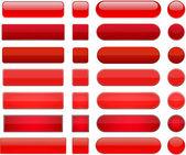 Boutons rouges web moderne haute-détaillé. — Vecteur