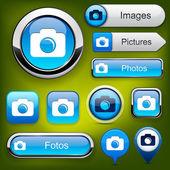 Hoch-detaillierte web button fotosammlung. — Stockvektor