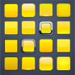 Yellow square high-detailed modern web buttons. — Stock Vector #14570099