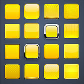 Yellow square high-detailed modern web buttons. — Stock Vector