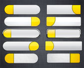 Yellow and white high-detailed modern web buttons. — Stock Vector