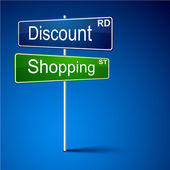 Discount shopping direction road sign. — 图库矢量图片