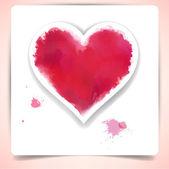 Watercolor heart over paper sheet. — Stock Vector
