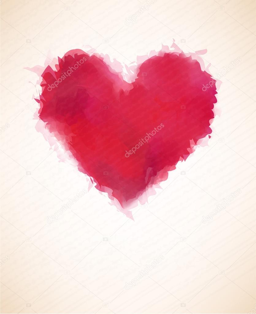 Vector Illustration of red watercolor heart over paper sheet. Eps10.  — Stock Vector #17679063
