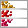 Colorful love paper banners with heart bubbles. — Stock Vector #19330525