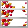 Stock Vector: Colorful love paper banners with heart bubbles.